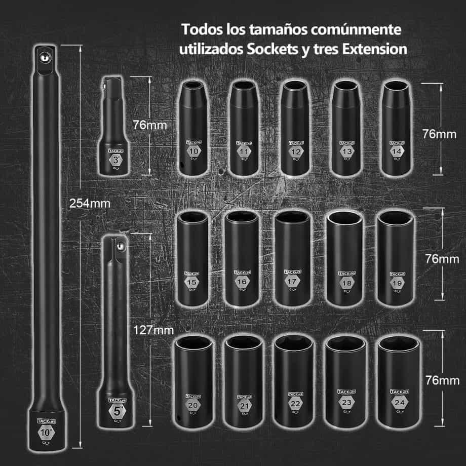 tamaños llaves de vaso